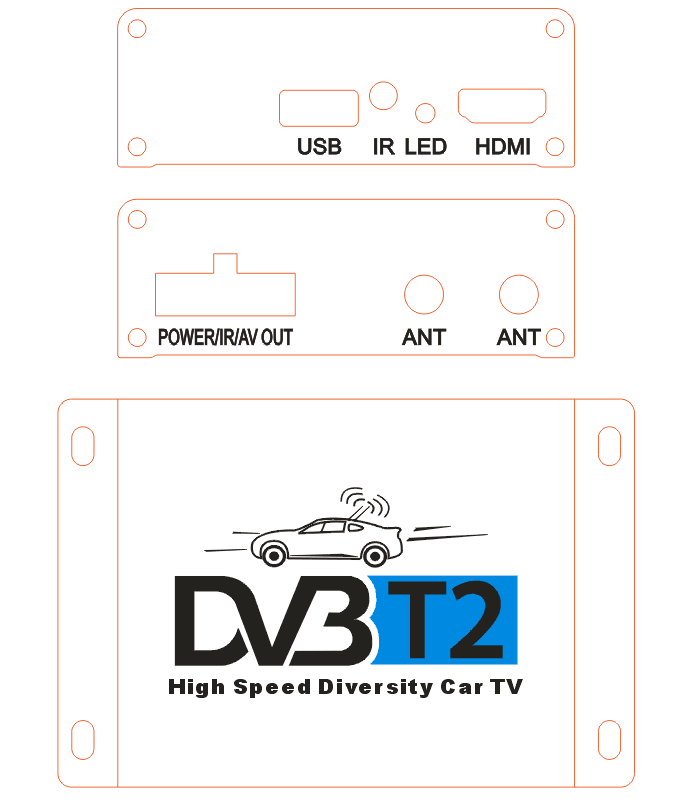 Car DVB-T2 Digital TV receiver