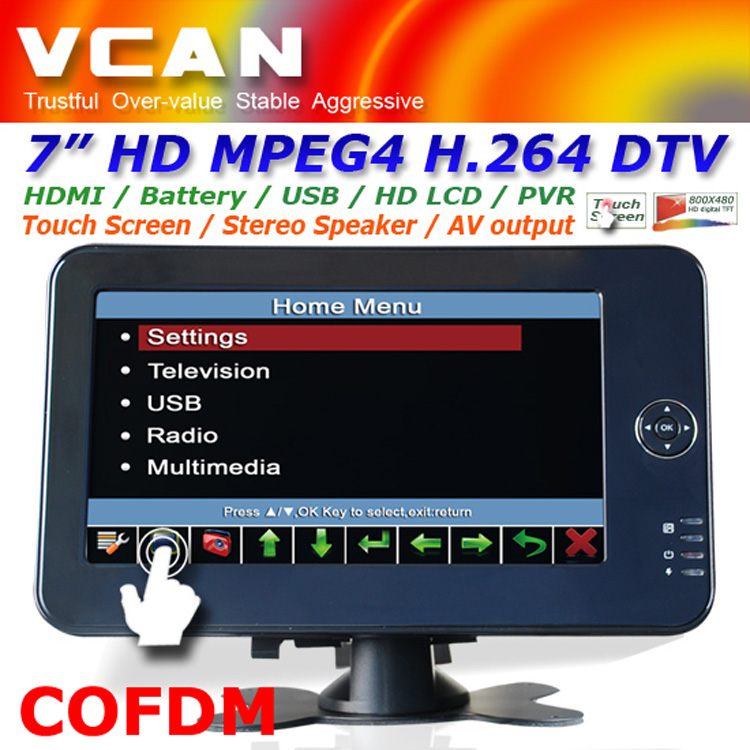 portable 7 inch handheld HD wireless COFDM receiver