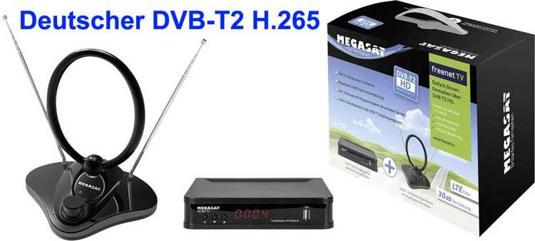 Deutscher DVB-T2 H.265 Receiver MegaSat HD 650 T2 inkl. DVB-T 30 Antenne freenet TV-Entschlüsselung, Front-USB
